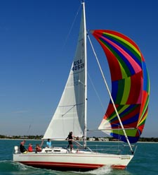 Vee Jay off Naples Feb. 2012 with spinnaker