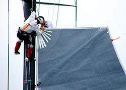 Beau Geste fixes sail, photo from Vee Jay 40569