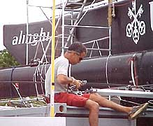 Working on Alinghi's mast in Newport